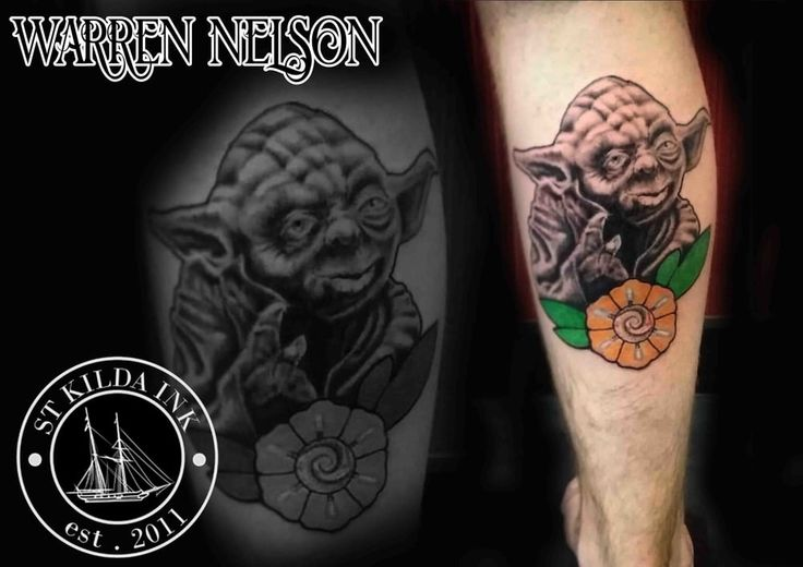 Yoda Tattoo @wfdn_tattoo www.wfdnelson.com  #tattoo #yodatattoo #yoda #starwars #tattoo #starwarstattoos