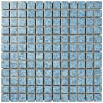 Merola Tile Watersplash Square Alboran 11-3/4 in. x 11-3/4 in. x 6 mm Porcelain Mosaic Tile, Light Blue/High Sheen