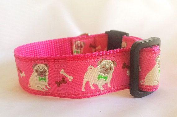 Pink Pugs Dog Collar