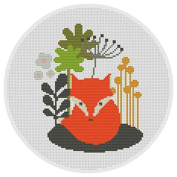 Fox Cross stitch pattern Counted cross stitch pattern von Xrestyk