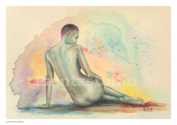 Woman painting nude water colour girl nude art by Paintzstudio