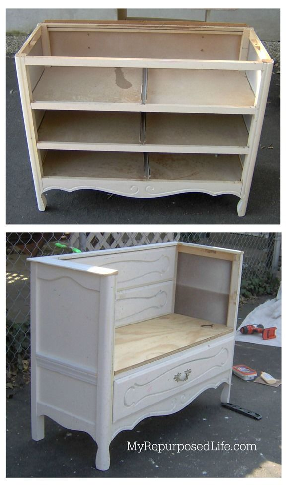 Vintage Dresser Repurposed Into A Bench With Storage