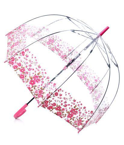 Pink Floral Border Clear Birdcage Umbrella - Unique Vintage - Prom dresses, retro dresses, retro swimsuits.