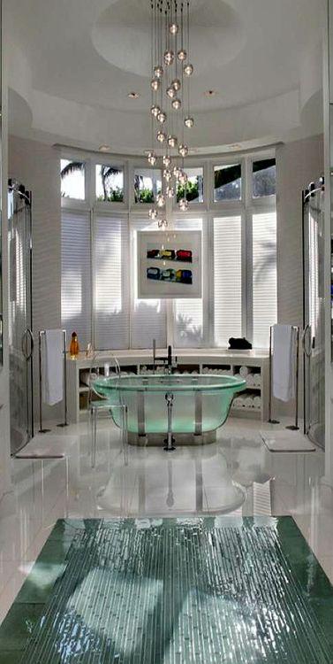 Modern Bathroom With Glass Tub. Grand Mansion, luxury lifestyle, dream home. ~DK