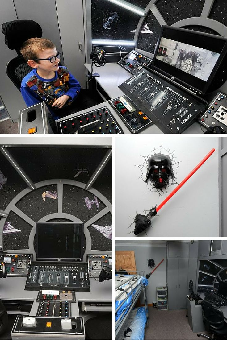 The DIY skills are strong in this one. One dad has earned a gazillion brownie points after turning his sons' bedroom into the inside of the Millennium Falcon.