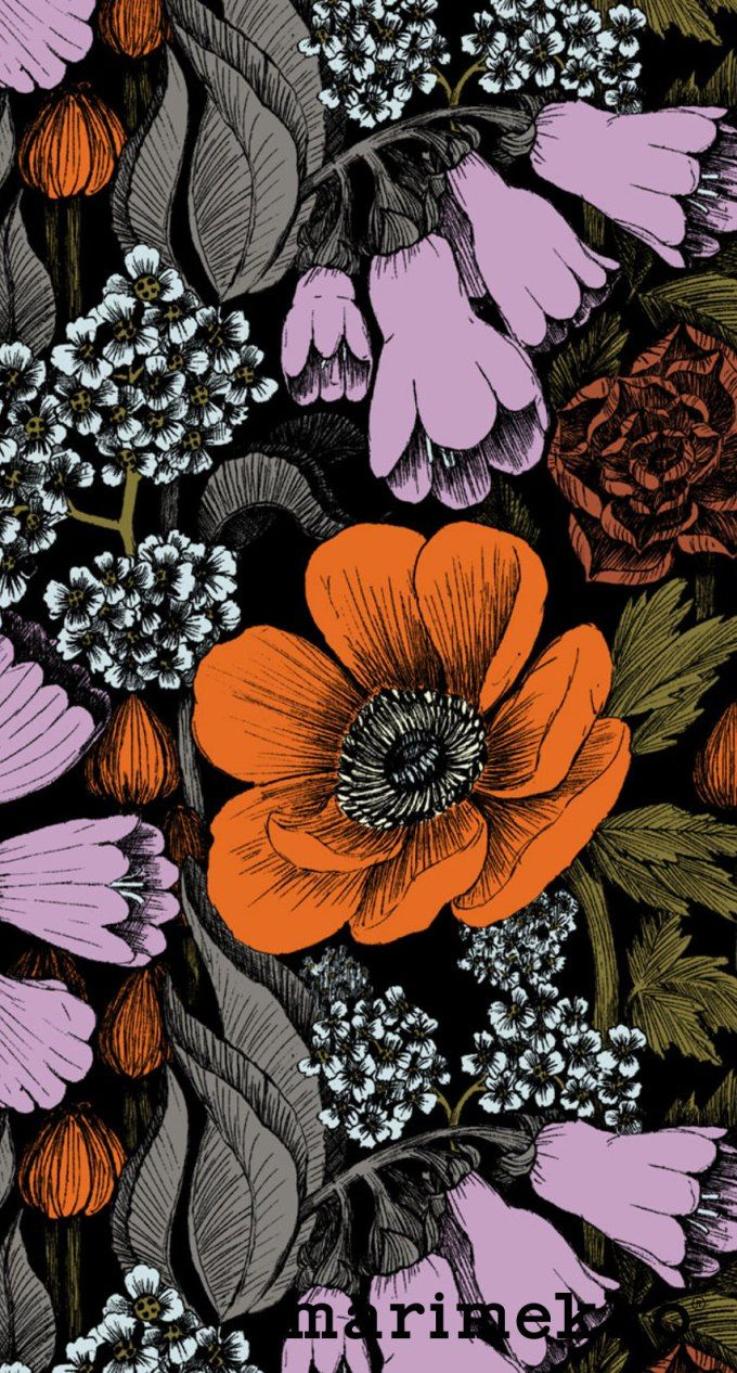 マリメッコ/花柄13 iPhone壁紙 Wallpaper Backgrounds iPhone6/6S and Plus Marimekko Floral Pattern iPhone Wallpaper