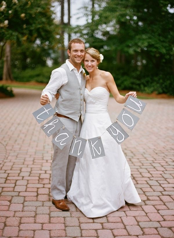 Great idea - Take a photo on your wedding day and use for your thank you cards ;-)