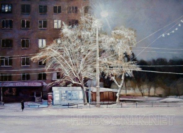 На остановке Раннее зимнее утро. Автобусная остановка. Маленькая фигурка в свете фонарей