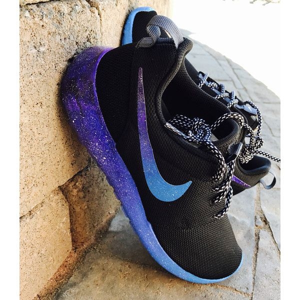 Galaxy Nike Roshe Custom shoes ❤ liked on Polyvore featuring shoes, cosmic shoes, planet shoes, nike footwear, nebula shoes and nike shoes