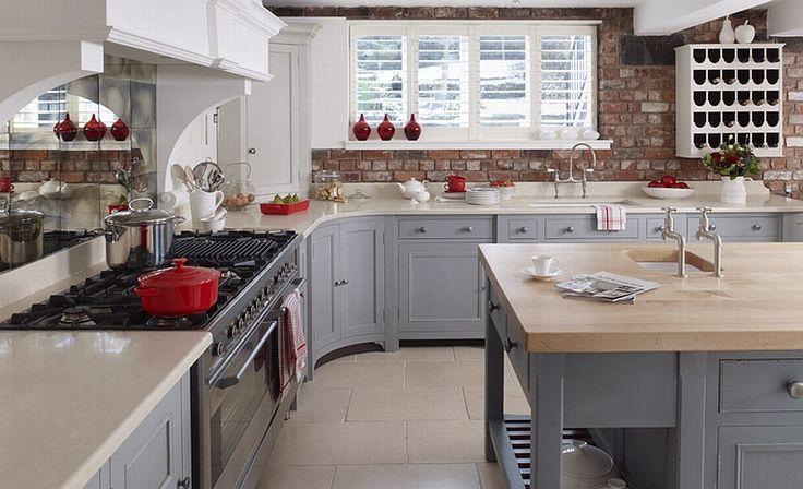 Best Two Toned Kitchen Love The Red Accents With This Color 400 x 300