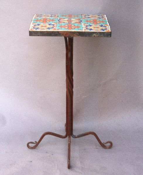 Tall 1920's Iron and Tile Side Table, Tables and Desks, Spanish Revival, Mediterranean and European Antiques at Revival Antiques