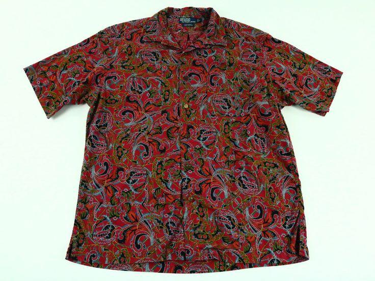 Polo Ralph Lauren Men's Shirt Vintage Paisley Red Caldwell Short Sleeve Size L #PoloRalphLauren #ButtonFront