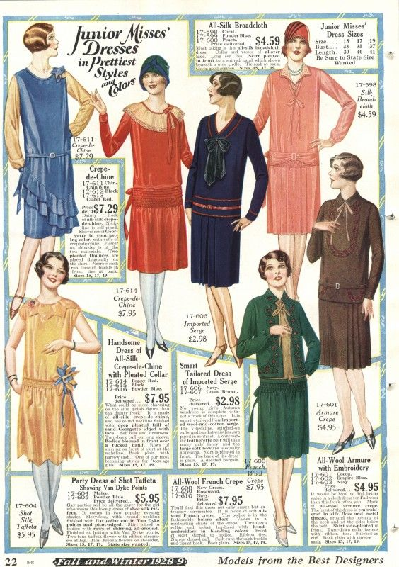 Late 20s afternoon dresses were plain and more tailored. These are from 1928 fall catalog of young misses and girls dresses. http://www.vintagedancer.com/1920s/1920s-afternoon-dresses/