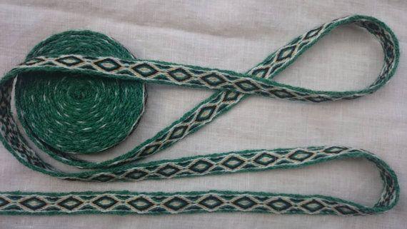 Tablet weaving braid, card weaving trim, pure wool