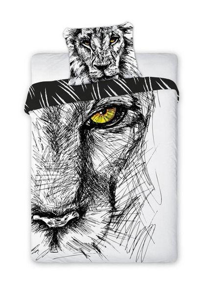 Detské posteľné obliečky čierno bielej farby s motívom leva