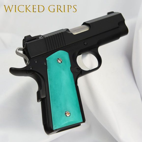1911 OFFICERS MODEL COMPACT GRIPS REPLICATED JADE | Guns