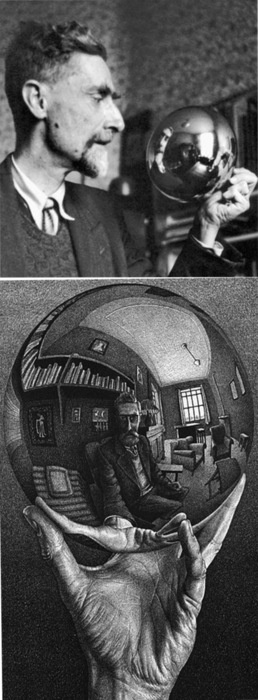 Escher, Mauritis (1899-1972) - 1935 #Self Portrait in Spherical Mirror // wow, this is a good one. I've never even seen a photo of the real Escher before