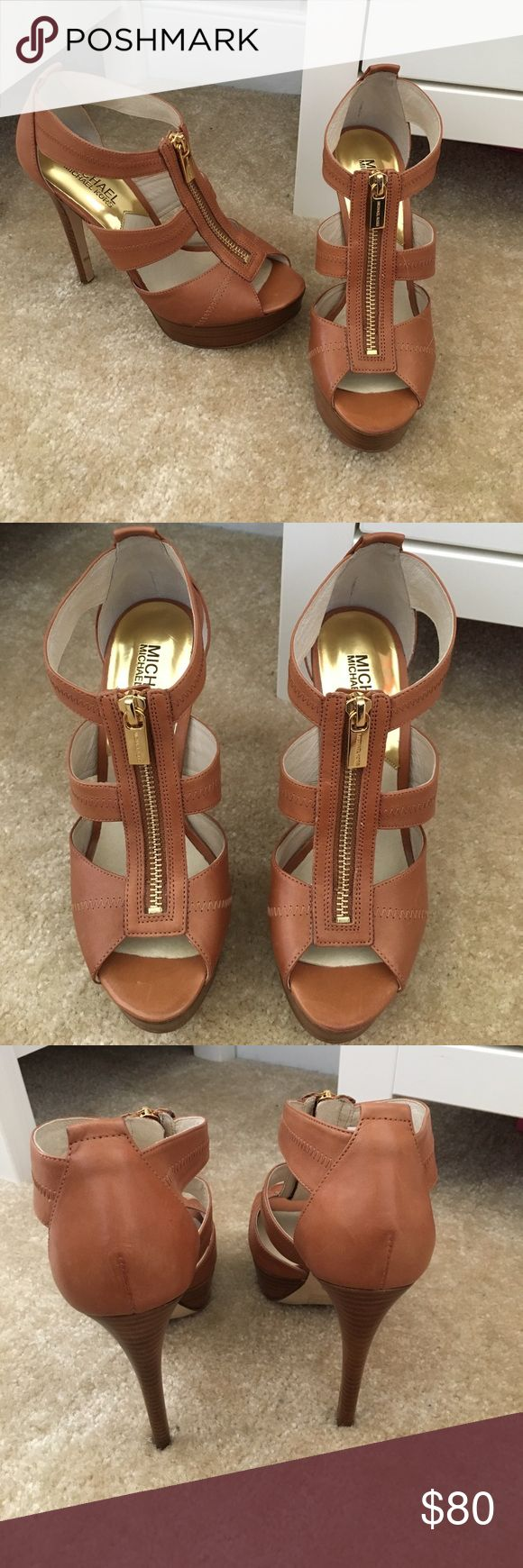 NEW Brown Michael Kors heels size 6.5 New worn once for grad pictures! Beautiful brown Michael kors heels. Make an offer!! Michael Kors Shoes Heels