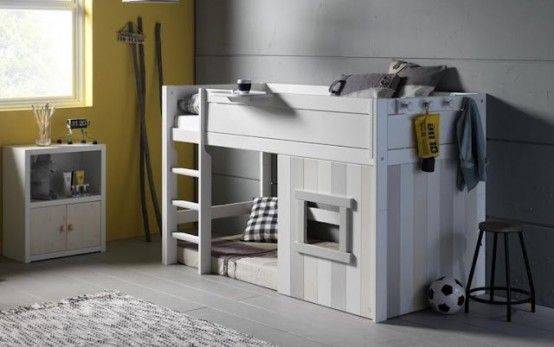 Cool IKEA Kura bed turned into a playhouse in white gray colors