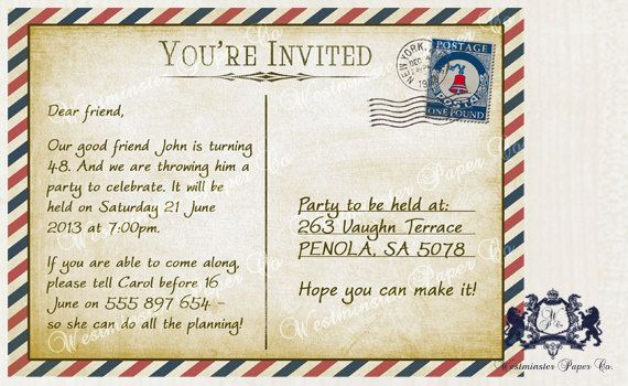 Mens Birthday Party Invitation Nautical Post by WestminsterPaperCo, $20.00