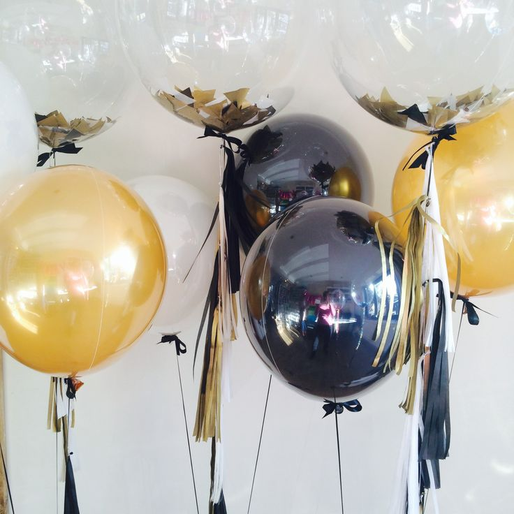 Sophisticated black gold amp transparent confetti balloons love these de coraacion