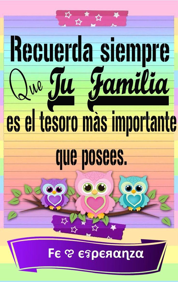 Recuerda siempre que tu familia es el tesoro más importante que posees