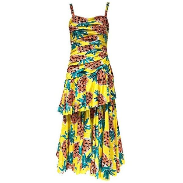 Preowned 80s Louis Feraud Yellow Pineapple Print Cotton Summer Dress ($750) ❤ liked on Polyvore featuring dresses, cocktail dresses, yellow, day summer dresses, yellow summer dress, 1980s dresses, vintage dresses and pineapple print dress