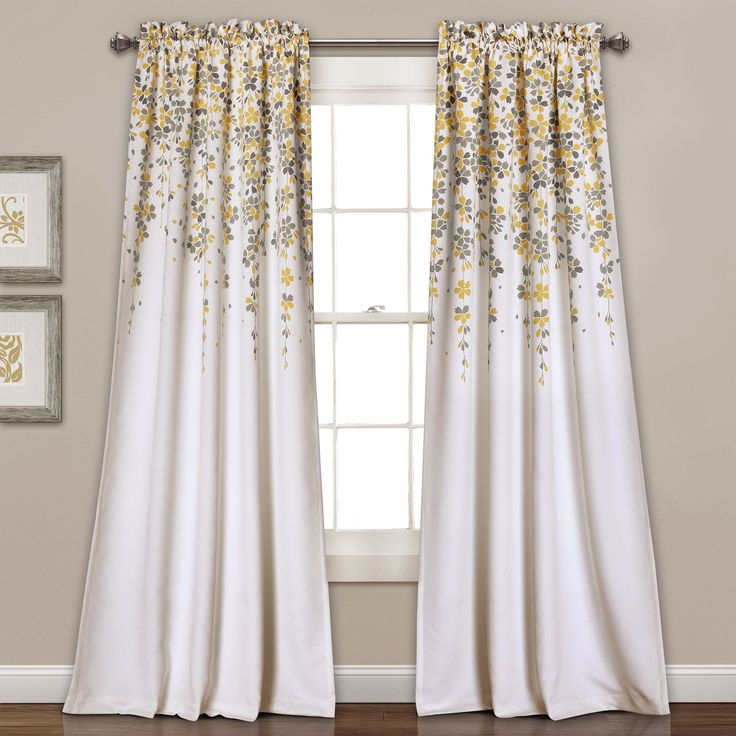"Lush Decor Weeping Flowers Room-darkening Window Curtain Panel Pair (84 x 52""+2"", Yellow/Gray), Grey, Size 52 x 84 (Polyester, Floral)"