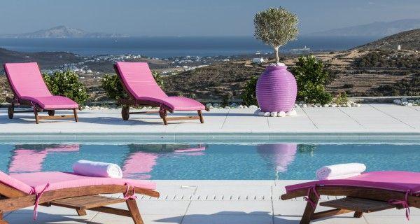 Swimming Pool and sunbeds of Moonlight Villa in Paros Greece. http://instylevillas.net/property/moonlight-villa-paros/