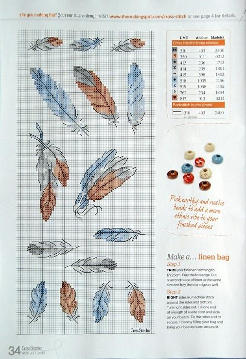 Cross-stitch feathers