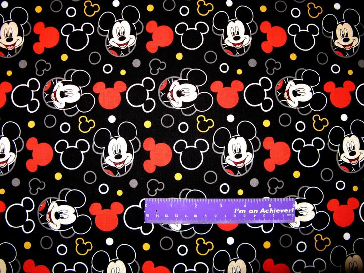 """Disney Mickey Mouse Cartoon Head Ears Comic Icon Cotton Fabric REMNANT 14"""" x 43"""" by DaMommasTextiles on Etsy"""