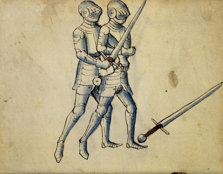 Cod. 11093, 11v: Book on Swordsmanship and Wrestling, mid-15th c. Austrian National Library, Public Domain