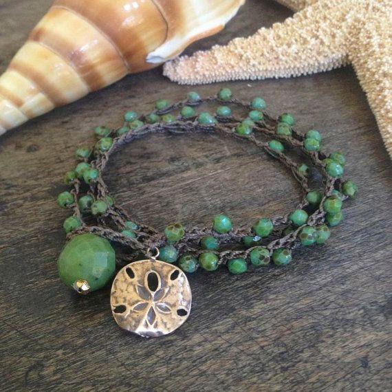 "Sand Dollar Multi Wrap Crochet Bracelet, Anklet, Necklace ""Beach Chic"" $34.00"