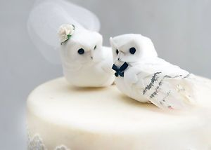 Snowy Owl Wedding Cake Topper in Winter White Rustic Bride and Groom Love Birds | eBay