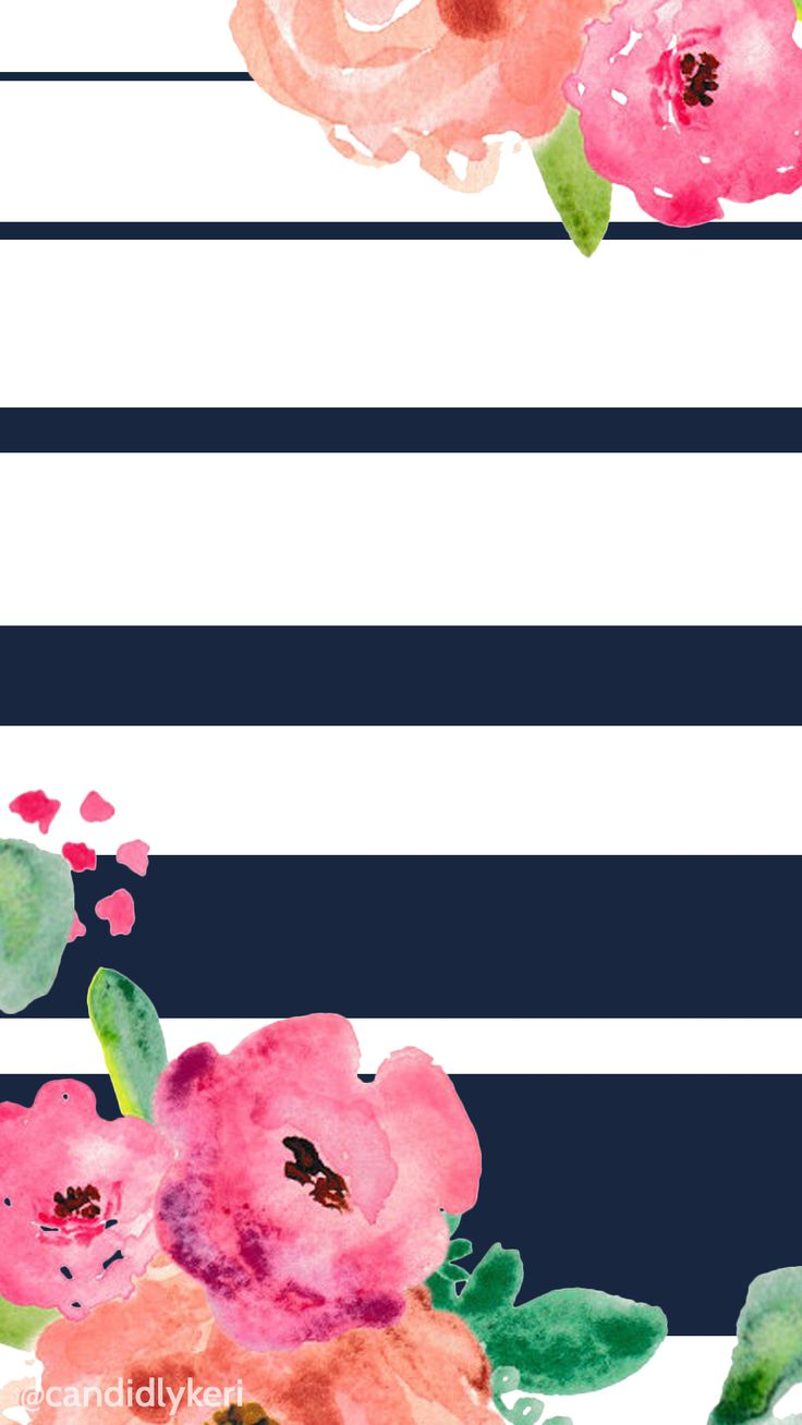 Wallpaper iphone cute pink - Flower And Navy Stripe Cute Wallpaper You Can Download For Free On The Blog For