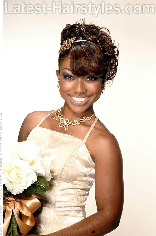 Black wedding party hairstyles bridesmaids