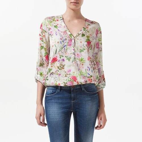 blusas de manga larga floreadas - Buscar con Google                                                                                                                                                      Más