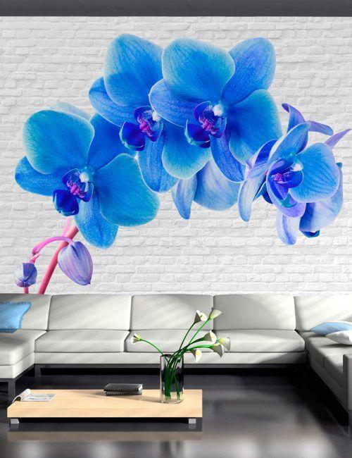 Carta da Parati Fiori Orchidee Blu Carta da Parati Fotomurale a Tema Natura e Fiori