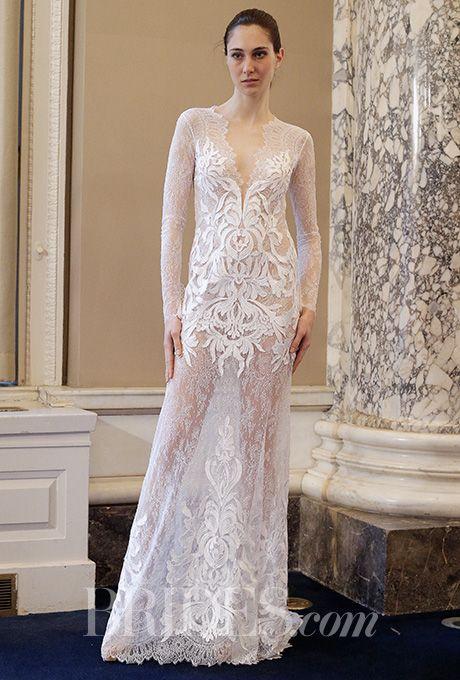 A daring sheer lace @costarellos wedding dress | Brides.com