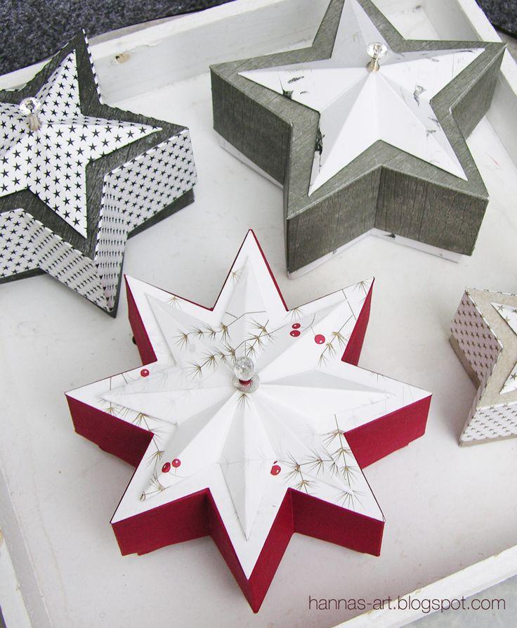 Sternschachteln in unterschiedlichen Größen mit Link zur Anleitung auf meinem Blog.