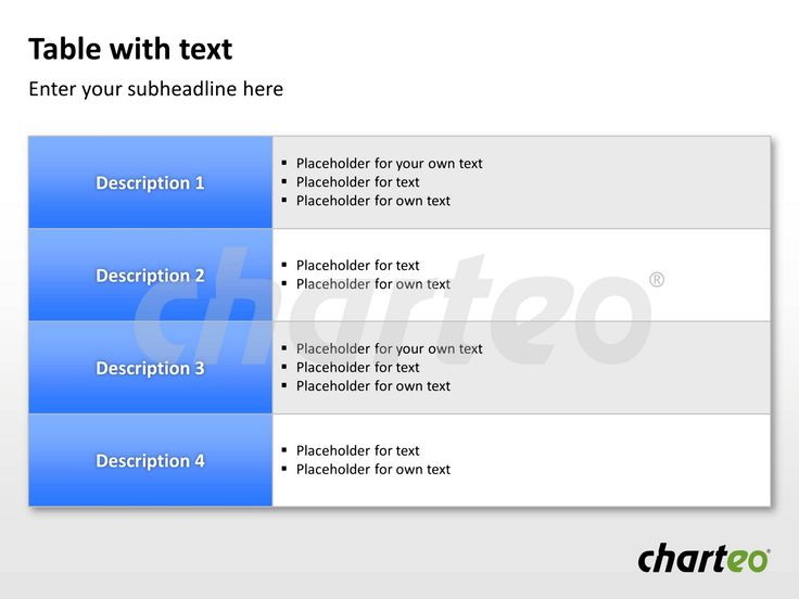 Make use of our well-structured table template for your next PowerPoint presentation. Download now at http://www.charteo.com/en/PowerPoint/Tables/Table-with-Text-15.html