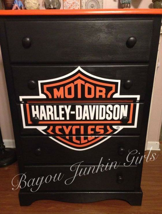 Harley Davidson dresser  5 drawer dresser painted and decoupaged for local benefit