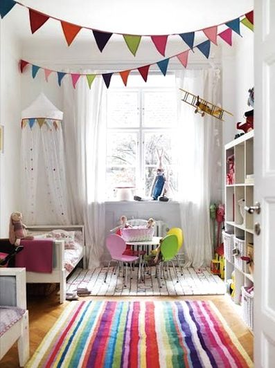 home inspiration: COLOUR-FULL KID SPACESChild Room, Little Girls, Kids Room, Kidsroom, Girls Room, Kid Rooms, Playrooms, Bright Colors, White Wall