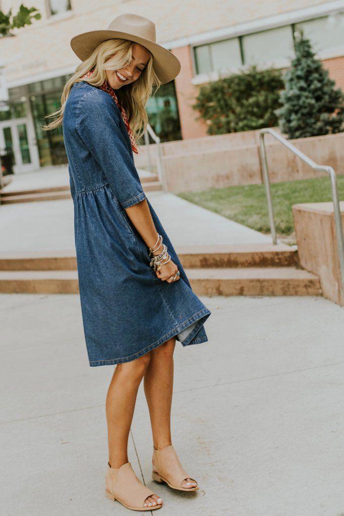 699cfad40a5 Denim Dress w Pockets + Breathable Fabric