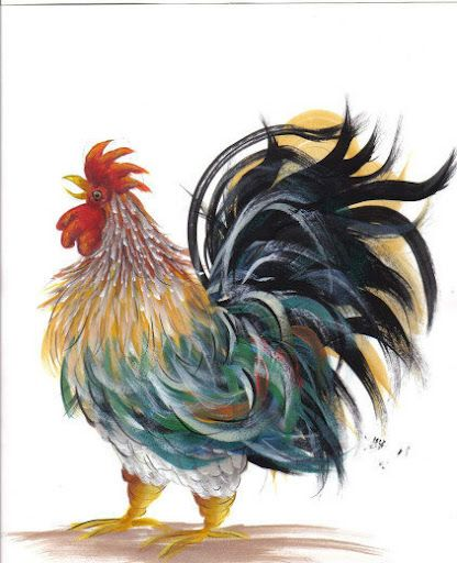 Mr. Cackle was my first decorative painting pattern to design for artists to learn how I paint my feathers! Many more are free on my blog!