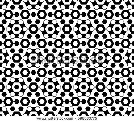 Vector monochrome texture, black & white hexagonal geometric seamless pattern. Stylish abstract background with different sized hexagons, symmetric structure. Design for decor, fabric, furniture, web