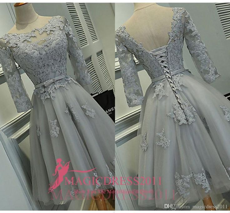 Real Photos Grey Lace Party Homecoming Bridesmaid Dresses 2016 A-Line Jewel Illusion 3/4Long Sleeve Short Mini Cocktail Prom Gowns Cheap Dress for Party 2015 Evening Gowns Beaded Formal Gown Online with 92.0/Piece on Magicdress2011's Store | DHgate.com