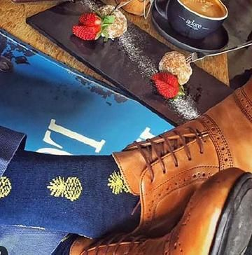 Ditsy Pineapple Men's Bamboo Socks - Had enough with your ordinary sock collection? We completely understand! Why not give our bamboo socks a try? Not only are they a real luxury, but our line of funky socks will make your sock drawer anything but ordinary! With our extensive assortment of patterns and colors, treat your feet to our luxurious men's bamboo socks