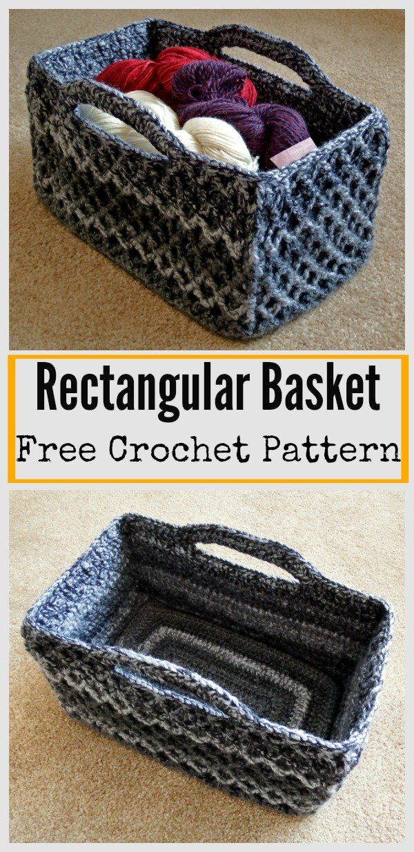 Rectangular Diamond Trellis Basket Free Crochet Pattern #Crochet #Freepattern #Basket