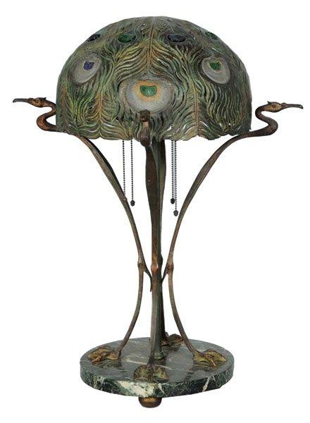 Art Nouveau Marble, Bronze & Glass Lamp